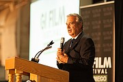 Tom Karlo, KPBS General Manager, welcomes the audience to the GI Film Festival San Diego.