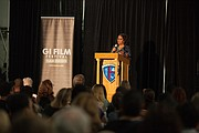 """Laura Law-Millet makes opening remarks at the film screening for """"Max."""""""