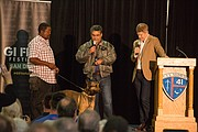 Jagger, the dog who plays Max in the film, is introduced to the audience at the GI Film Festival San Diego.