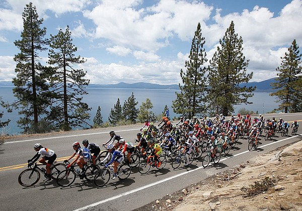 Cyclists ride in the Amgen Tour of California in this und...