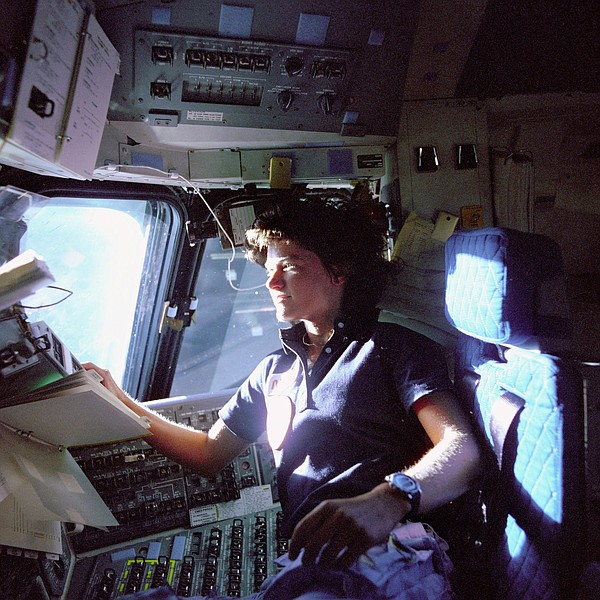 Sally Ride in the pilot chair of the space shuttle after ...