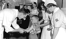 """""""Polio Pioneer No. 1"""" receives injection in Sal..."""