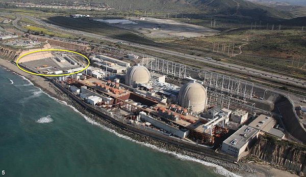 A bird's eye view of the San Onofre Nuclear Generating Station, highlighting ...