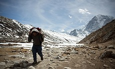 Sherpa carrying kit to base camp, Everest. (65711)