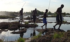 Fishermen crossing Zambezi River at Victoria Fa... (65717)