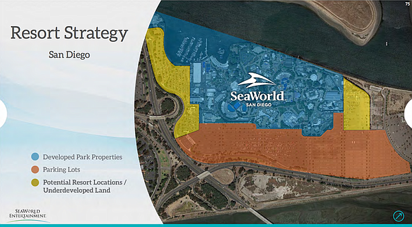 This slide from SeaWorld's Investor Relations presentation shows possible loc...