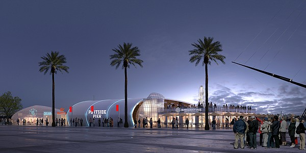 This architectural rendering shows a nighttime view of Th...