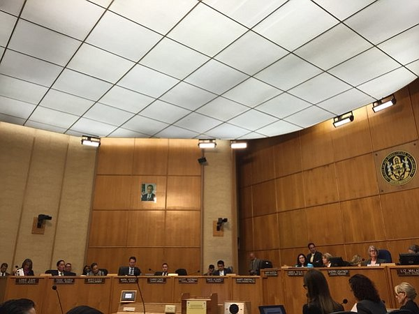 The San Diego City Council listens to Halla Razak, director of public utiliti...