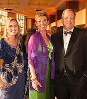 Mindy Pawinski, Mary Ann Beyster, KPBS Visionary Hall of Fame honoree, and Leon Pawinski at the KPBS Celebrates Gala on Saturday, March 28, 2015 at the Hilton La Jolla Torrey Pines.
