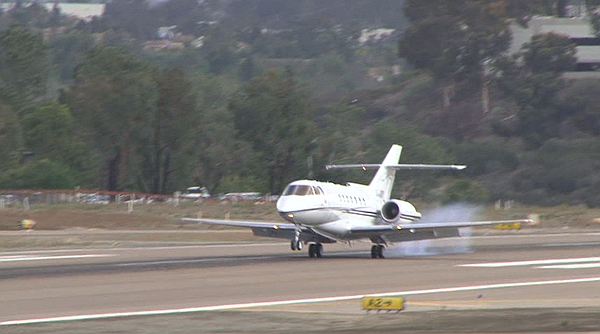 A corporate jet from Mexico lands at McClellan-Palomar Ai...