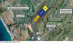 Map of possible new dual runway on a proposed international airport on Marine Corps Base Camp Pendleton, Dec. 4, 2015.