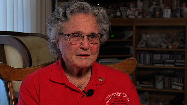 """Joanne """"Joedy"""" Adams, 86, a child survivor of the attack on Pearl Harbor, shares her memory of the horrific day, Dec. 2, 2015."""