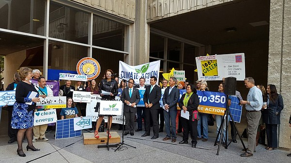 Environmental leader Nicole Capretz speaks at a rally in advance of the San D...