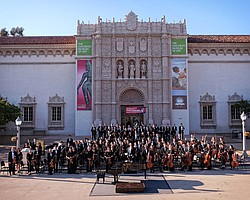 San Diego Youth Symphony China Tour orchestra at the Bon Voyage Concert in the Plaza de Panama, Balboa Park, June 18, 2015.