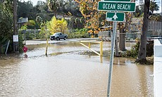 Water floods Sefton Fields in Mission Valley, Jan. 7, 2016.