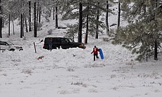 A woman carries a boogie board into the snow on Mount Laguna for sledding, Ja...