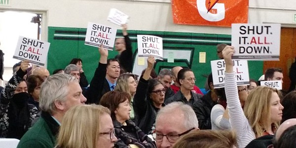 Signs asking for the complete closure of the Aliso Canyon Gas Storage facilit...