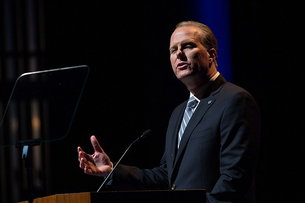 Mayor Kevin Faulconer delivers from the Balboa Theatre hi...