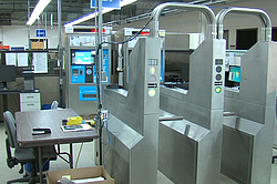 A model of a Chicago Transit Authority turnstile is seen at the Cubic Corp. headquarters in this undated photo. The San Diego-based company developed the Compass Card.