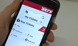 The MTS app is seen on an iPhone, Jan. 13, 2016. The app currently sells trolley-only day passes during special events, but MTS is planning a revamped app with the capability of selling all fare types.