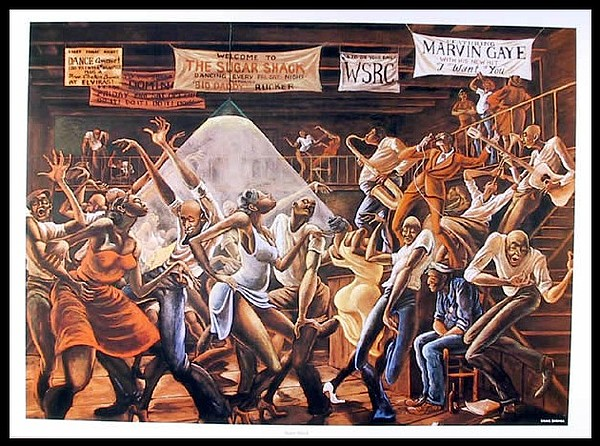 An undated image shows Ernie Barnes' painting