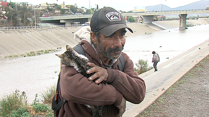 The Tijuana migrant Jose Alberto Zavala, known as Chapo, cradles a wet kitten...