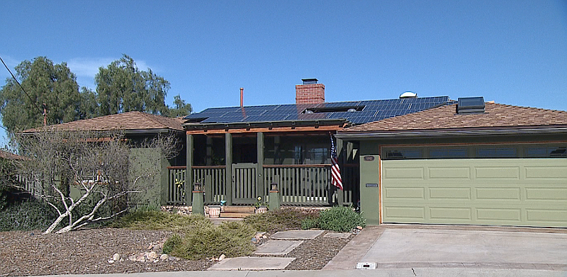 A home in the El Cerrito neighborhood of San Diego has solar panels on its ro...