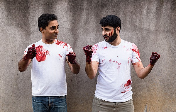 From left to right: Manu Narayan, who plays the straight-...