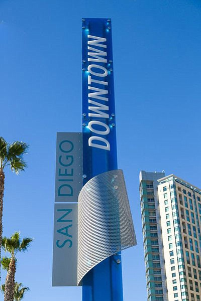 A sign installed next to Civic San Diego's pedestrian bridge near Harbor Driv...