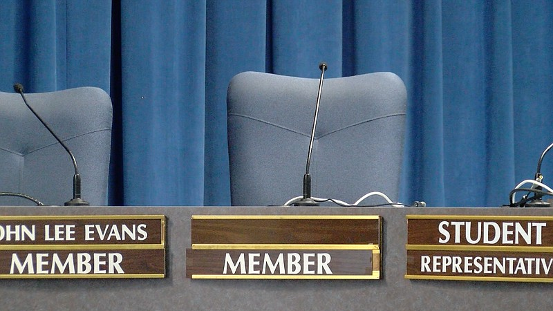 The seat where Marne Foster sat during San Diego Unified School Board meeting...