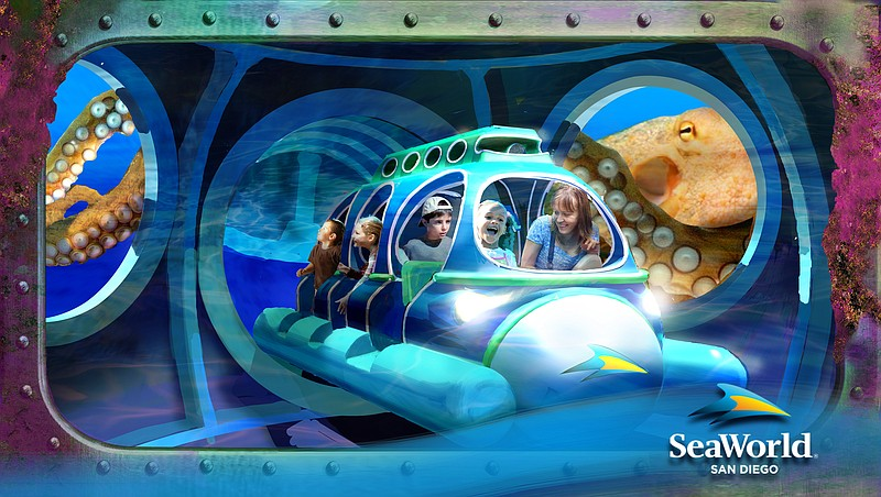 An undated rendering shows SeaWorld visitors on a ride in the park's proposed...