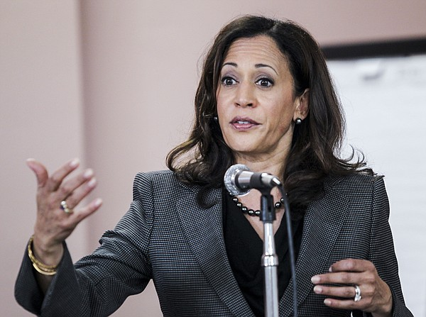 California Attorney General Kamala Harris speaks at a mee...