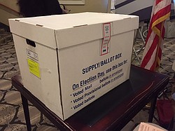 A ballot box during Carlsbad's special election to decide the fate of a development, Feb. 23, 2016.