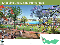 A rendering of the shopping and dining promenade at the proposed development ...