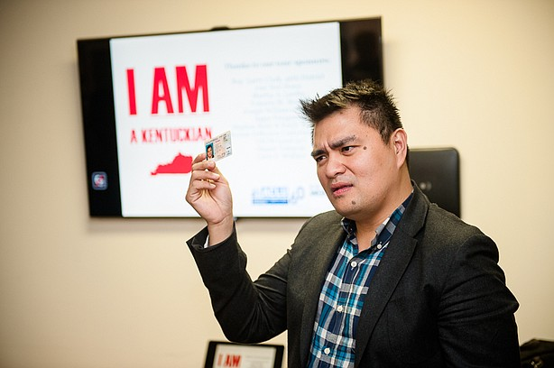 Pulitzer Prize-winning journalist Jose Antonio Vargas giving a lecture while ...