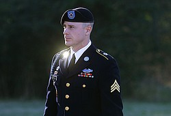 Army Sgt. Bowe Bergdahl arrives for a pretrial hearing at Fort Bragg, N.C., J...