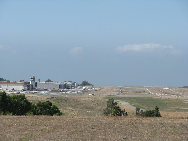 Palomar Airport runway in Carlsbad viewed from the east, December 2015.