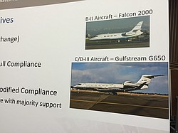 A poster board at a public hearing in Carlsbad shows the difference between B...