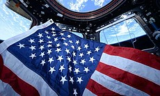 American Flag aboard the ISS. (72600)