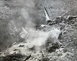 Wreckage of American Airlines' DC-3 Flagship Baltimore after it crashed in th...