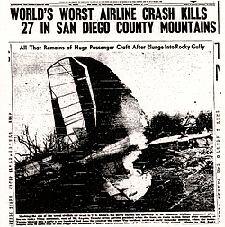 Article from the San Diego Union published March 4, 1946, details the crash o...