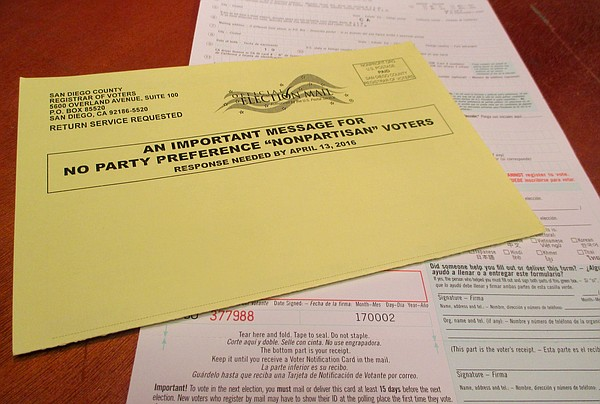 The postcard mailed out to nonpartisan voters who receive...