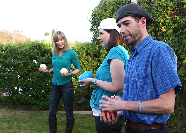 Diana Papworth plays bocce ball with her two children Shaun and Lauren, Feb. ...