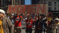 A march for International Women's Day takes place in San Diego, March 8, 2016.