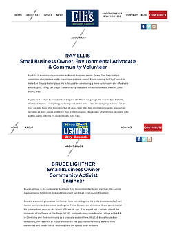Two screenshots show the near identical designs of the campaign websites belonging to Ray Ellis and Bruce Lightner.