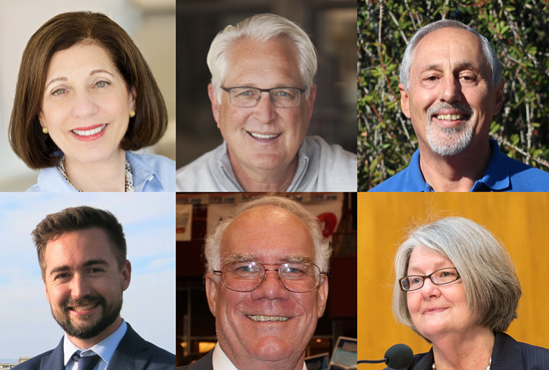 The candidates and incumbent in City Council District 1. Clockwise from upper left: Barbara Bry, Ray Ellis, Louis Rodolico, Kyle Heiskala, Bruce Lightner and Sherri Lightner.