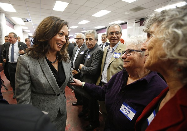 California Attorney General Kamala Harris, left, a candidate for the U.S. Sen...