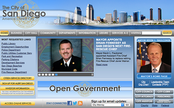 A screenshot of the city of San Diego's old website taken...