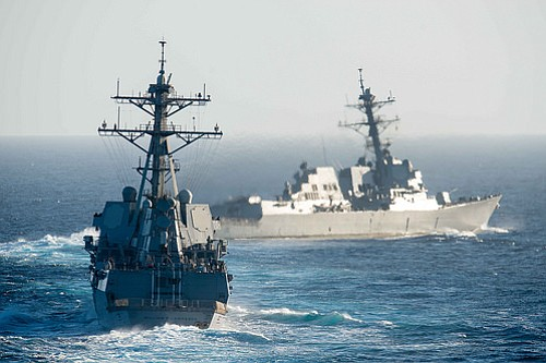 The guided-missile destroyers USS William P. Lawrence and USS Stockdale take ...