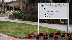 A sign is shown outside the former San Diego Hospice in this undated photo.